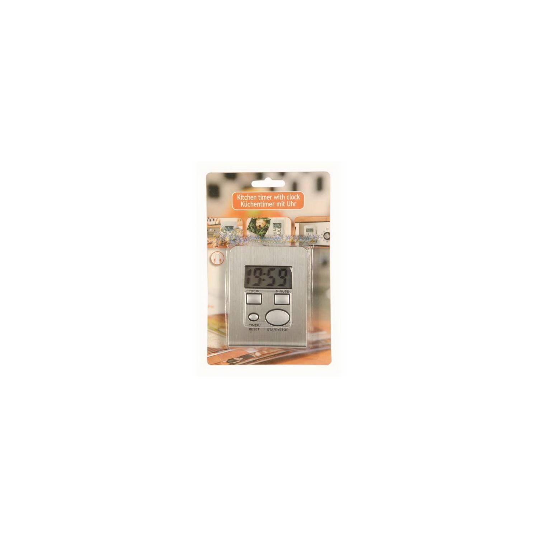 minuteur de cuisine lectronique inox avec fonction horloge ebay. Black Bedroom Furniture Sets. Home Design Ideas
