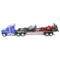 Camion plateau à friction 57cm + 2 voitures formule 1