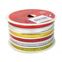 Assortiment 6 rubans paquets cadeaux bolduc 6x4m or-argent-rouge