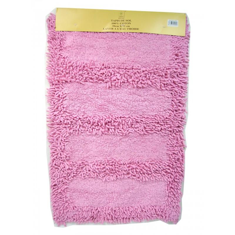 Tapis de salle de bain 100% coton 50x75cm rose
