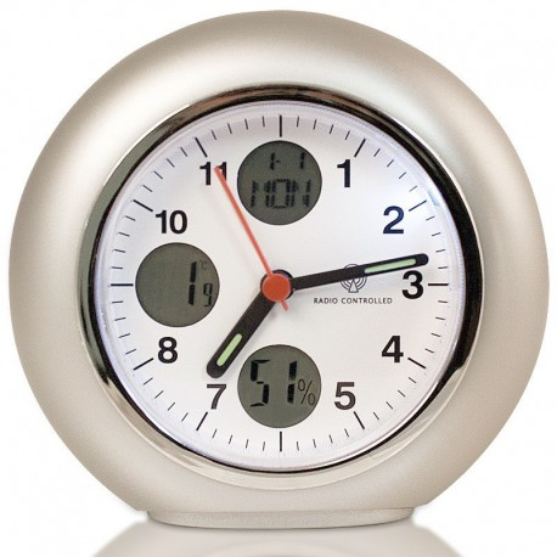 Réveil quartz radio-piloté avec calendrier thermomètre et hygromètre