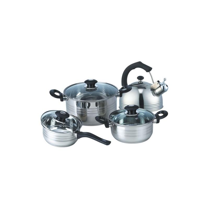 batterie de cuisine inox 7 pièces bouilloire casserole faitouts