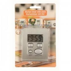 Minuteur de cuisine électronique inox avec fonction horloge.
