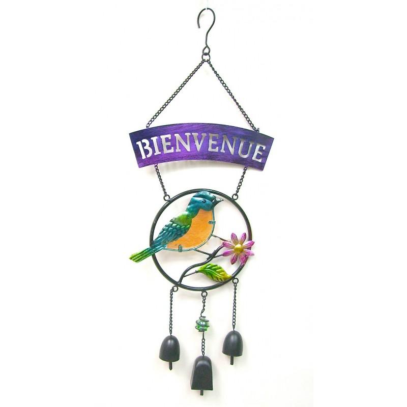 Carillon BIENVENUE oiseau orange et bleu métal et pâte de verre