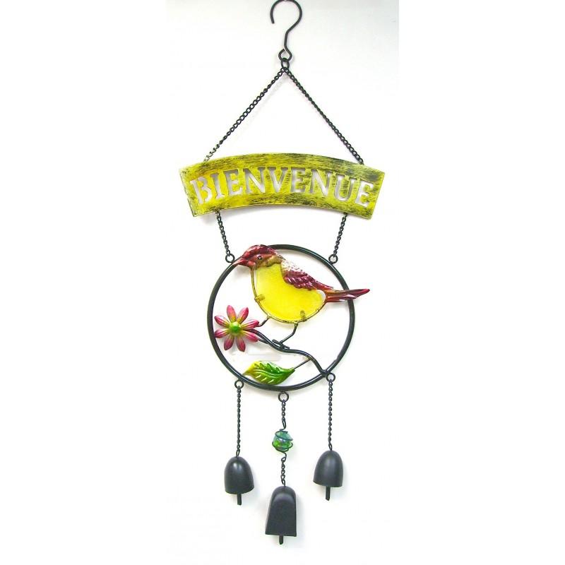 Carillon BIENVENUE oiseau métal et pâte de verre