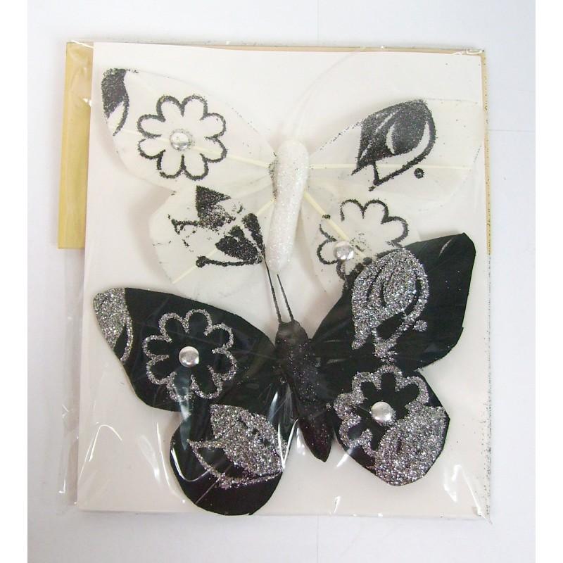 Lot 2 papillons magnétiques noir et blanc pour déco