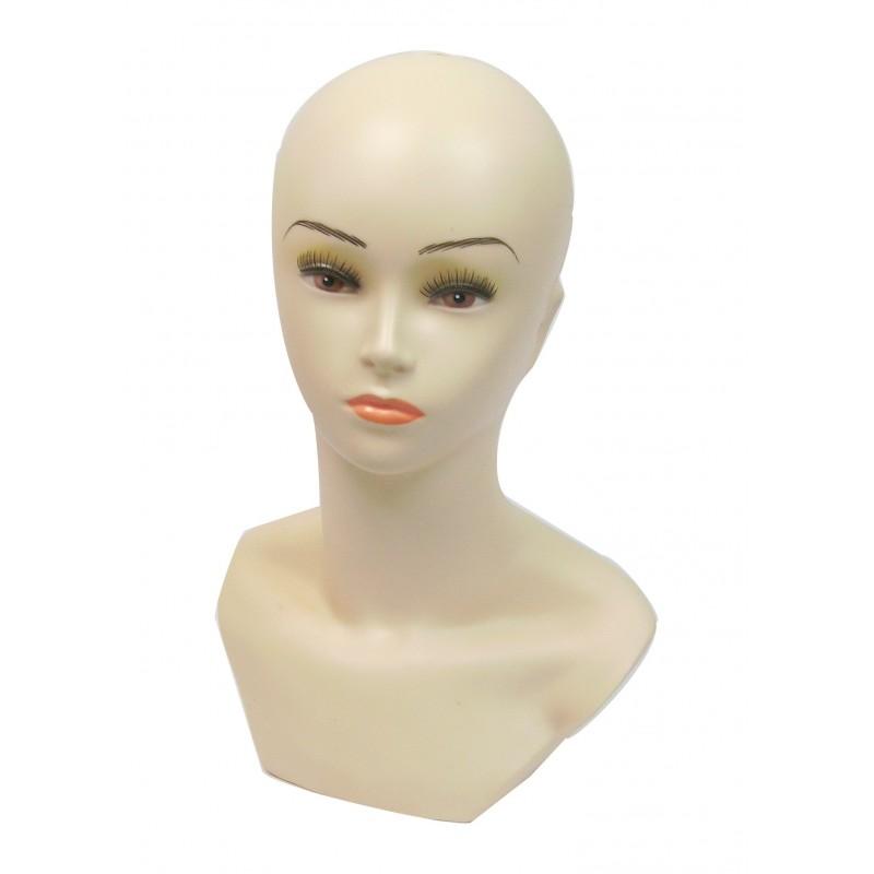 Tête de mannequin buste femme pour chapeau, bonnet, perruque