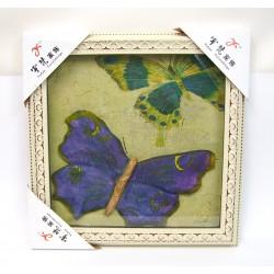 Tableau mural à effets relief papillon 36x36cm