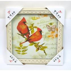 Tableau mural à effets relief oiseaux 36x36cm