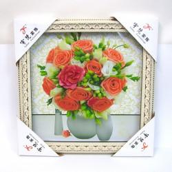 Tableau mural à effets relief bouquet de roses 36x36cm