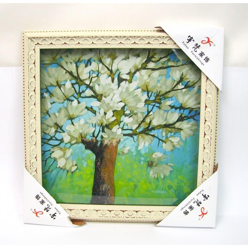 Tableau mural à effets relief arbre en fleurs 36x36cm
