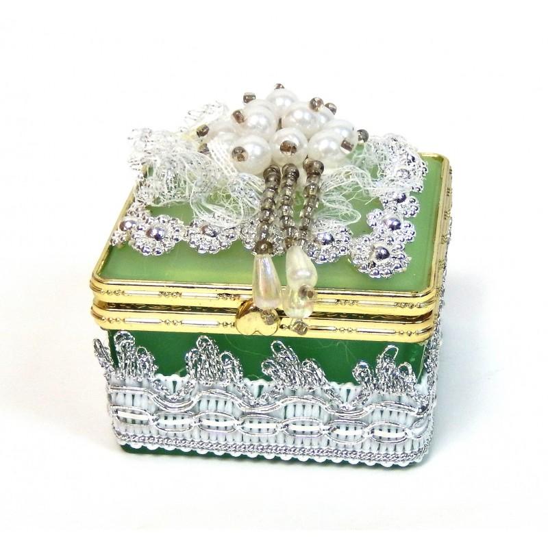 Boite a bijoux en verre carré vert