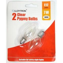 Lot 2 ampoules 7W E12 240V rechange pour veilleuse