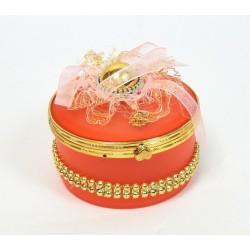 Boite a bijoux ronde rose