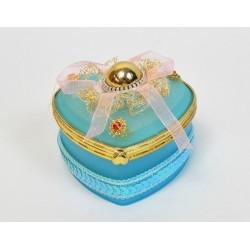 Boite a bijoux coeur bleu