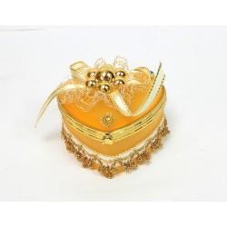 Boite a bijoux coeur jaune orangé