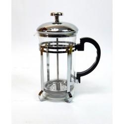 Cafetière théière à piston 600ml en inox et verre