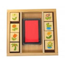 Boite 8 mini tampons fleurs plantes + encreur