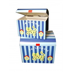Coffres en bois peint bleu/blanc décor léopard lot de 2