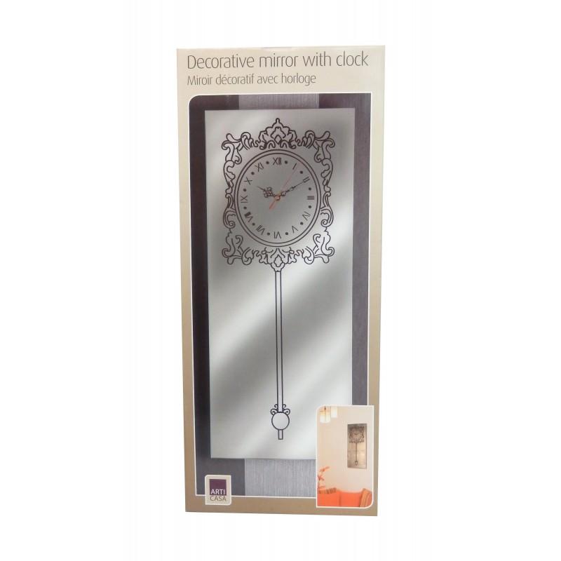 Horloge miroir 60x25cm