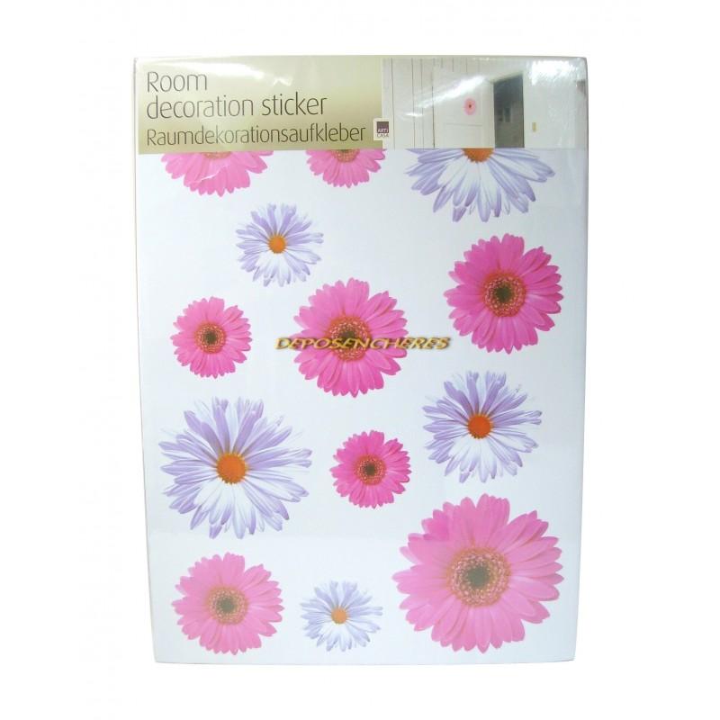 Lot 13 stickers fleurs couleurs rose mauve