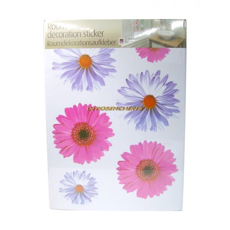 Lot 6 stickers fleurs couleurs rose mauve