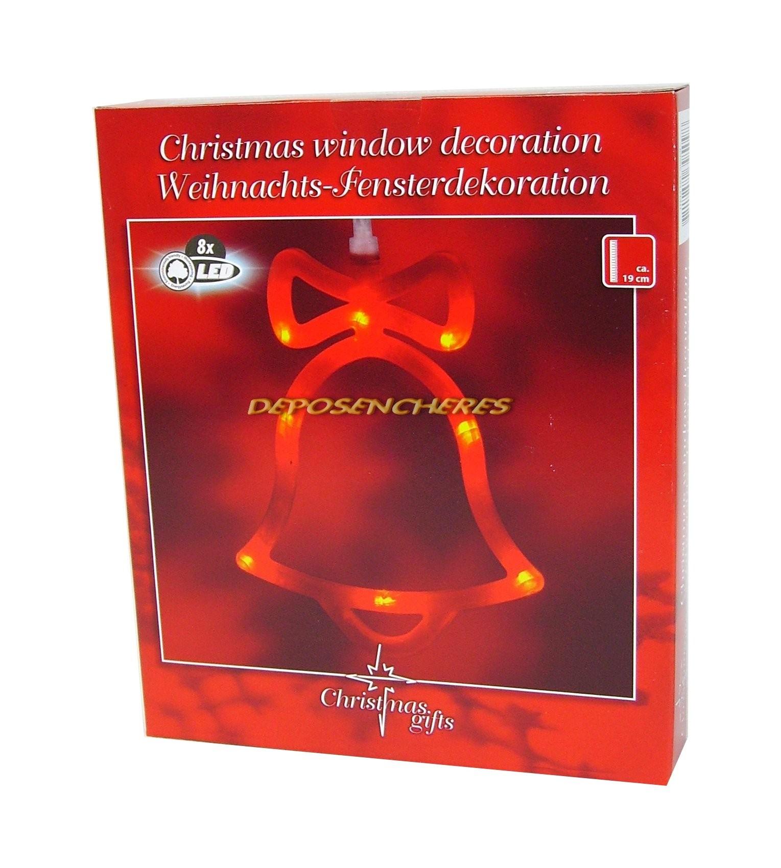 Deco De Noel Lumineuse Pour Fenetre décoration de noël lumineuse cloche pour fenêtre 8 led - shopping-affaires