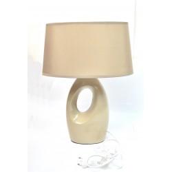 Lampe 42cm pied ceramique beige