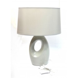 Lampe 42cm pied ceramique gris