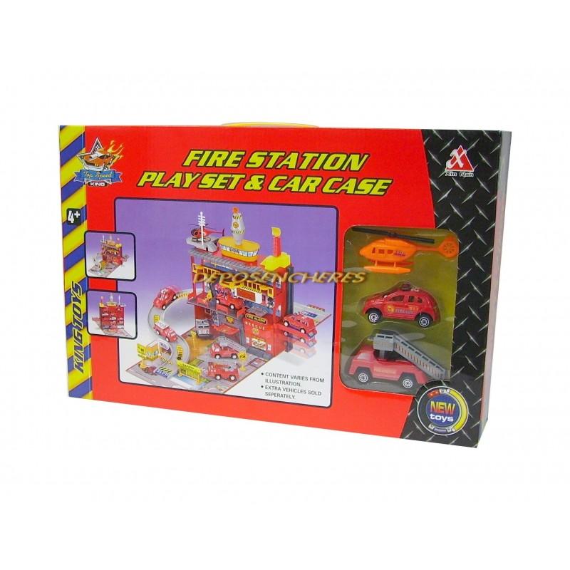 Coffret caserne de pompiers + 3 véhicules miniatures