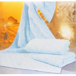 Serviette de douche éponge 100% coton bleu 140x70cm