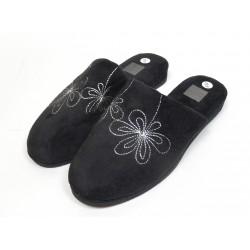 Pantoufles chaussons mules femme noir fleurs
