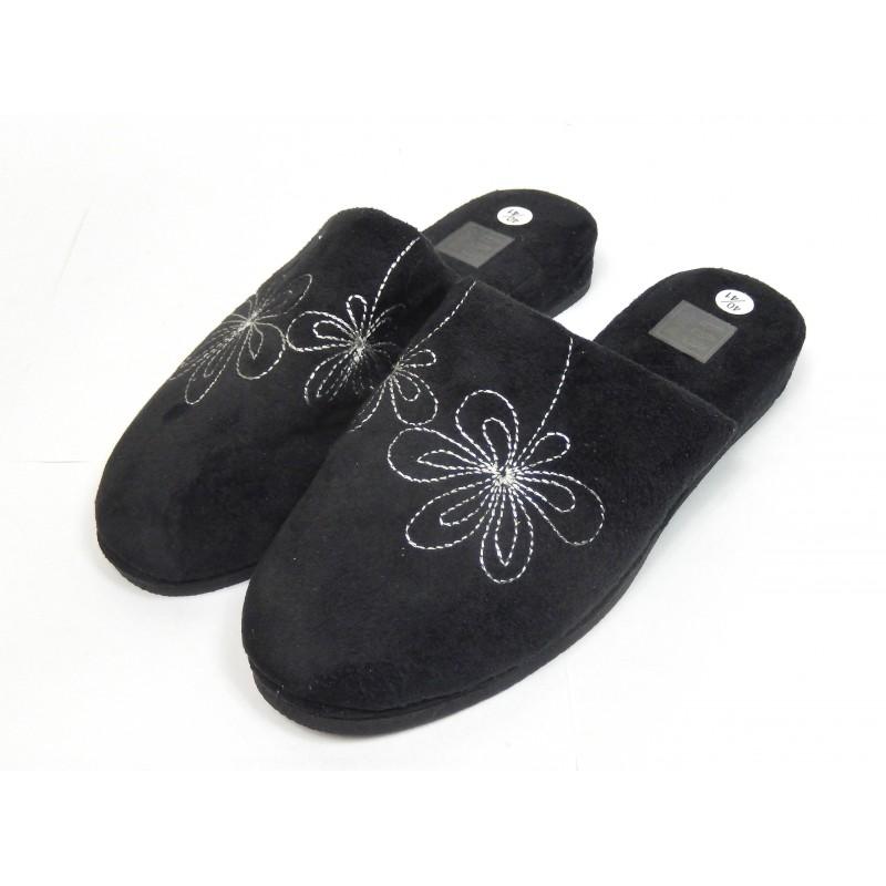 pantoufles chaussons mules femme noir fleurs shopping affaires. Black Bedroom Furniture Sets. Home Design Ideas