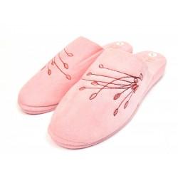 Pantoufles chaussons mules femme rose fleurs en bouton