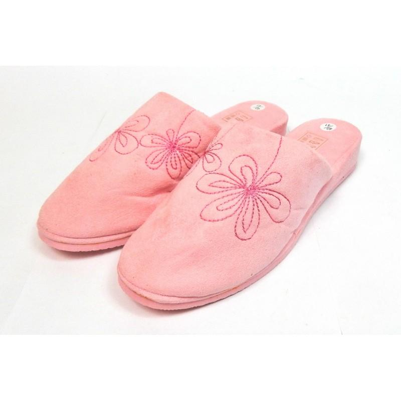 Pantoufles chaussons mules femme rose fleurs