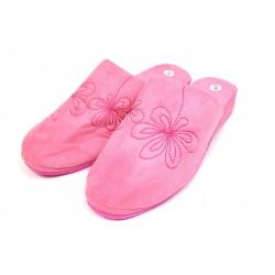 Pantoufles chaussons mules femme rose vif fleurs