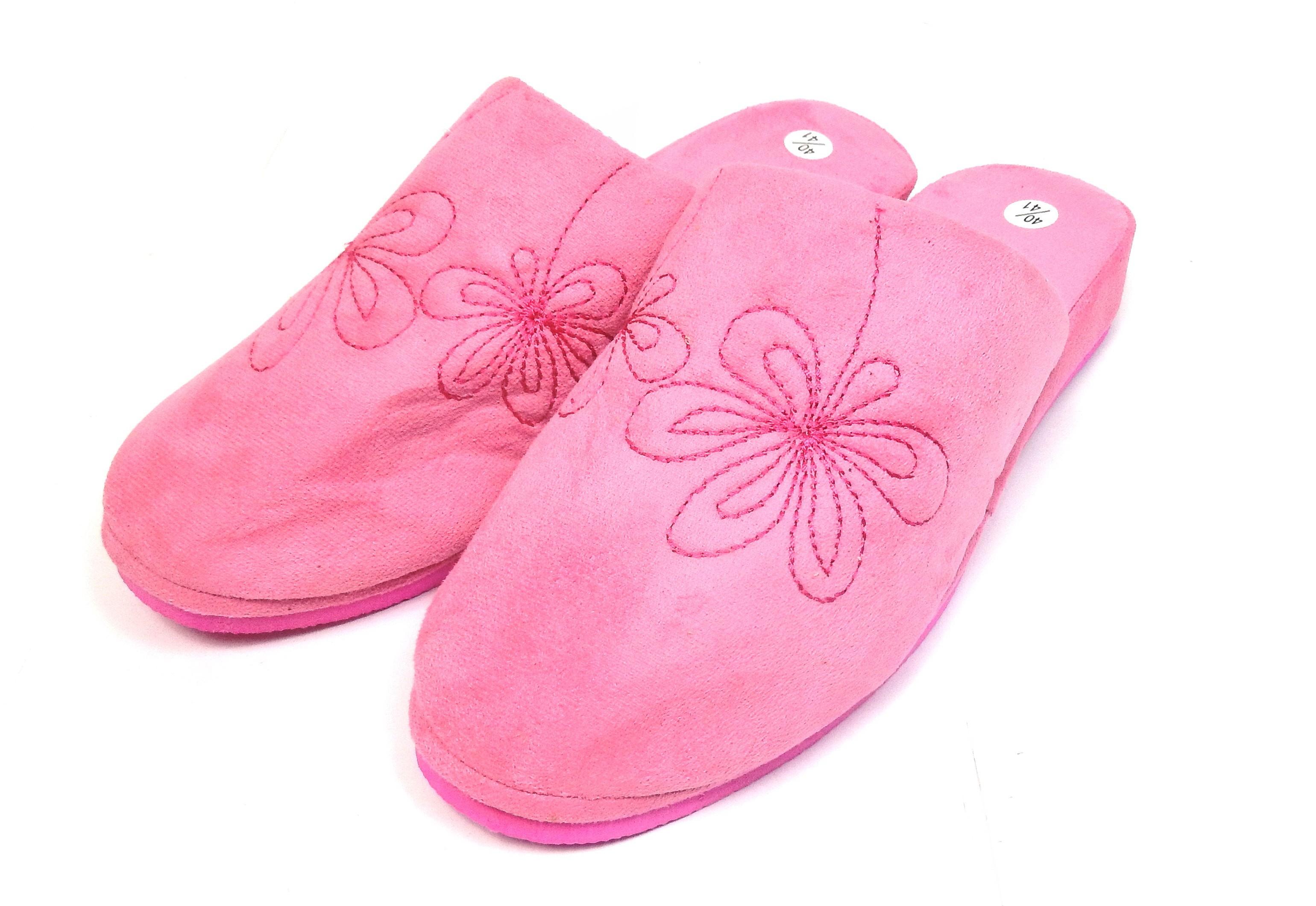 Pantoufles chaussons mules femme rose vif fleurs - Shopping-affaires b4fcc801c071