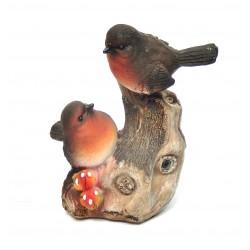 Oiseau siffleur sur branche résine orange avec capteur automatique