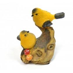 Oiseau siffleur sur branche résine jaune avec capteur automatique