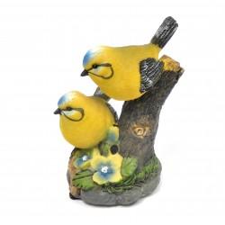 Oiseau siffleur sur branche résine jaune et bleu avec capteur automatique