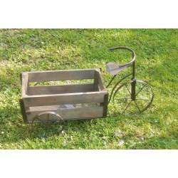 Tricycle porte plantes bois et métal marron
