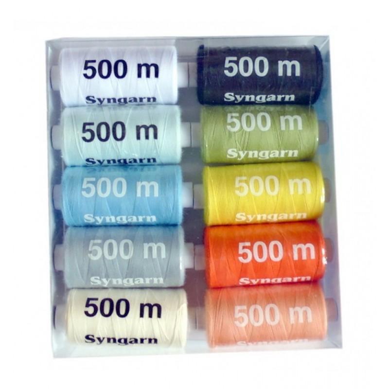Lot 10 bobines 500m fil à coudre 100% polyester assorties