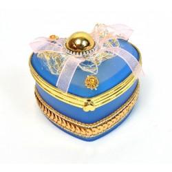Boite a bijoux coeur bleu foncé