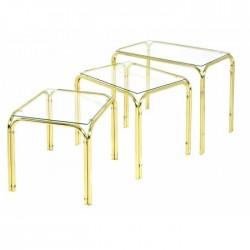 Lot 3 tables gigognes finition laiton dessus verre