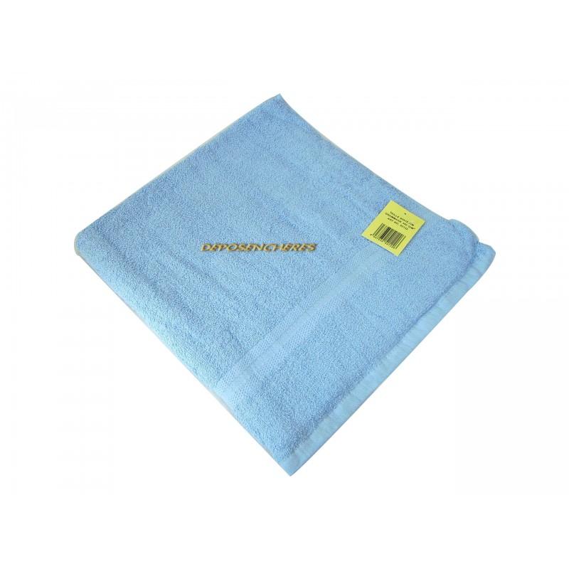 Drap de bain éponge coton bleu azur 350g/m² 80x150cm