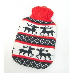 Bouillotte caoutchouc 1L avec housse tricot rouge
