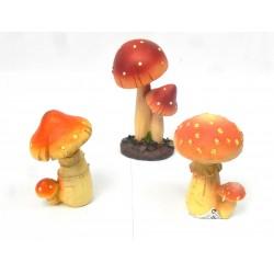 Lot 3 champignons en résine assortis