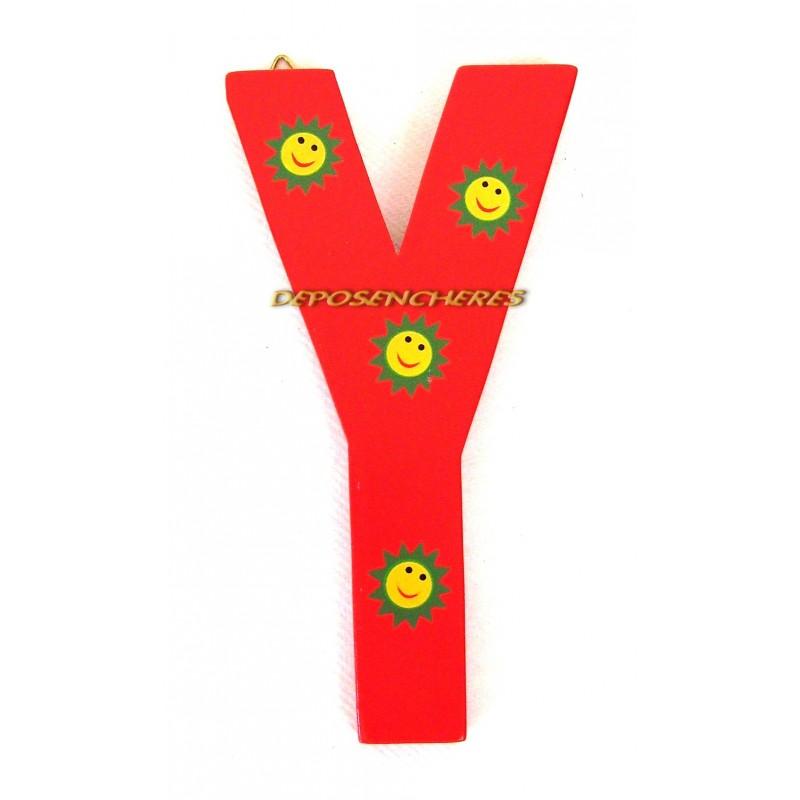 """Lettre alphabet """"Y"""" en bois peint 15cm"""