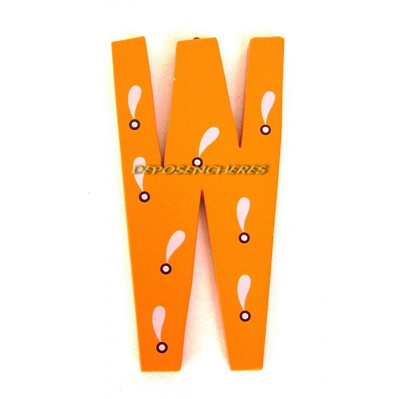 """Lettre alphabet """"W"""" en bois peint 15cm"""