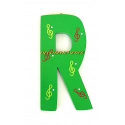 """Lettre alphabet """"R"""" en bois peint 15cm"""